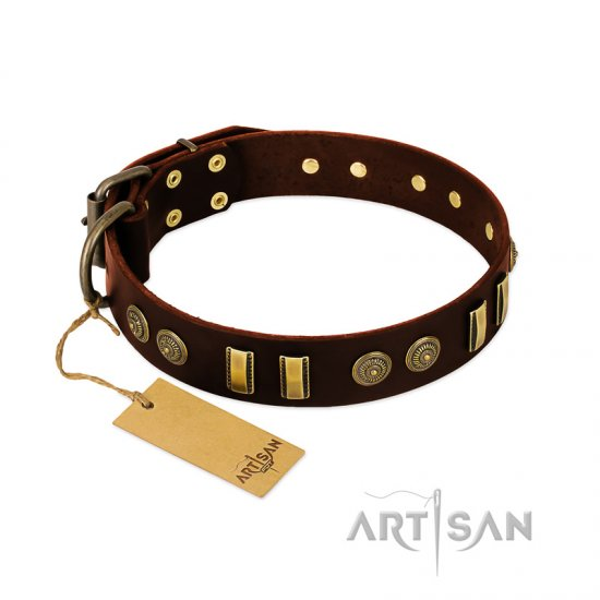 """Golden Elegance"" FDT Artisan Brown Leather Mastiff Collar with Old Bronze-like Decorations"