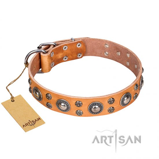 'Extra Sparkle' FDT Artisan Handcrafted Mastiff Tan Leather Dog Collar - Click Image to Close