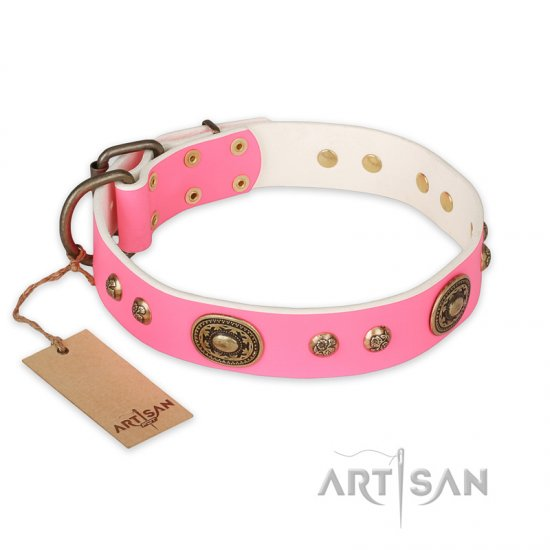 """Sensational Beauty"" FDT Artisan Pink Leather Mastiff Collar with Old Bronze Look Plates and Studs"