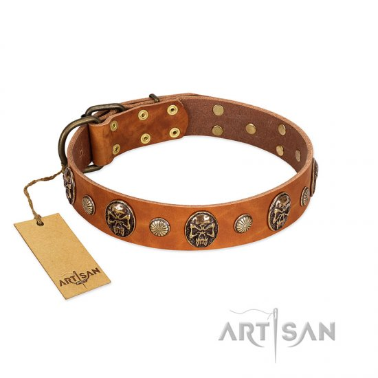 """Call of Feat"" FDT Artisan Tan Leather Mastiff Collar with Old Bronze-like Studs and Oval Brooches"