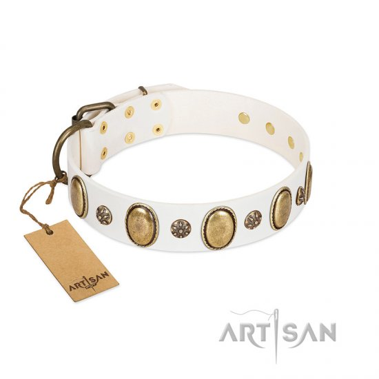 """Nifty Doodad"" FDT Artisan White Leather Mastiff Collar with Amazing Large Ovals and Small Studs"