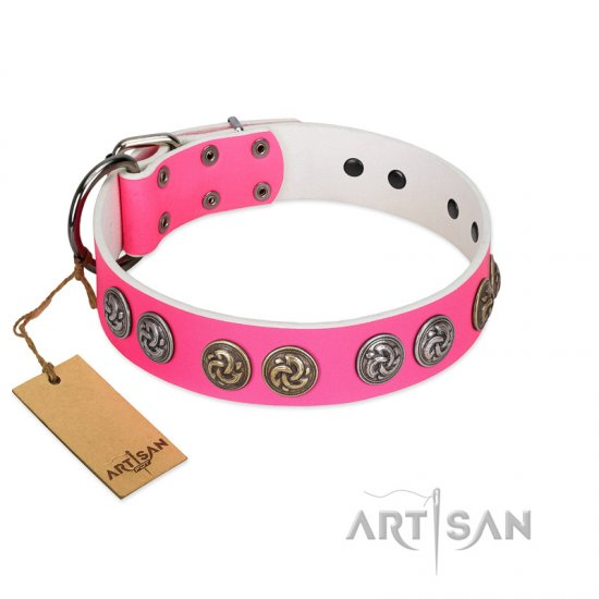 """Pink Butterfly"" Designer FDT Artisan Pink Leather Mastiff Collar with Round Studs"