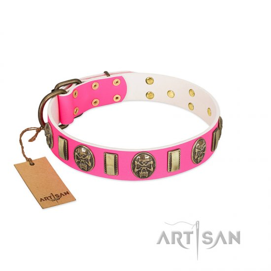 """Perilous Beauty"" Pink FDT Artisan Leather Mastiff Collar with Small Plates and Skulls"