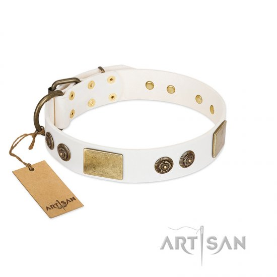 """Sweet Melody"" FDT Artisan White Leather Mastiff Collar with Plates and Ornamented Studs"