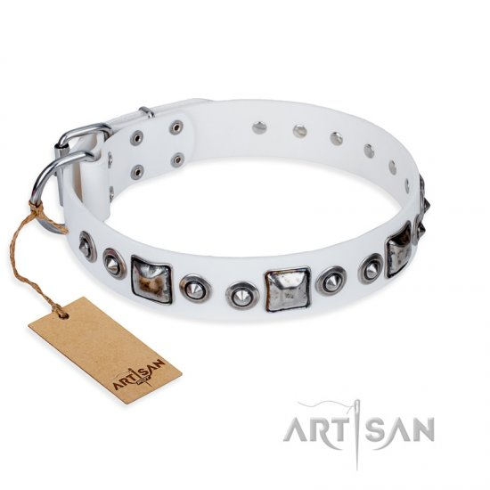 """Lustre of Fame"" FDT Artisan White Studded Leather Mastiff Collar"