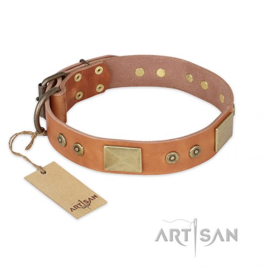 """The Middle Ages"" FDT Artisan Handcrafted Tan Leather Mastiff Collar"