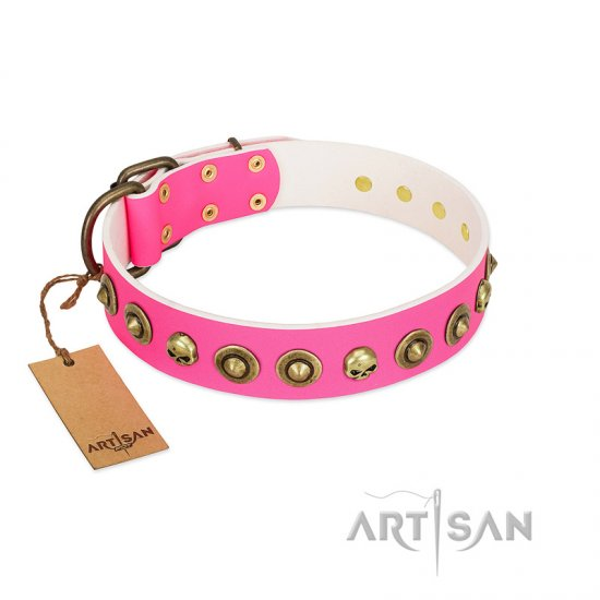 """Pawty Time"" FDT Artisan Pink Leather Mastiff Collar with Decorative Skulls and Brooches"