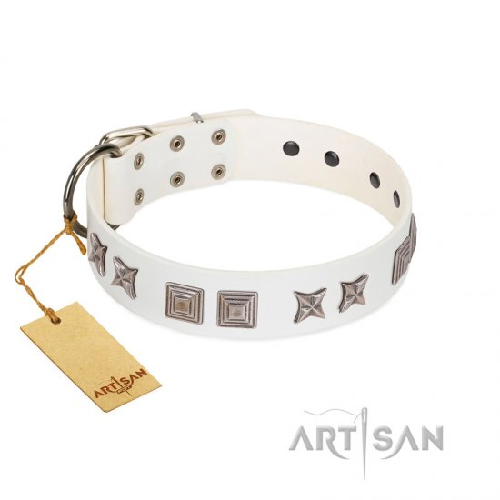 """Mister Perfection"" Designer Handmade FDT Artisan White Leather Mastiff Collar"