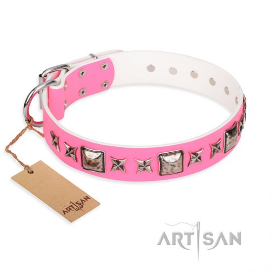"""Lady in Pink"" FDT Artisan Extravagant Leather Mastiff Collar with Studs"