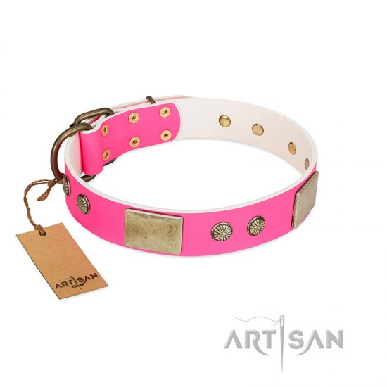 """Flower Parade"" FDT Artisan Pink Leather Mastiff Collar with Plates and Studs"