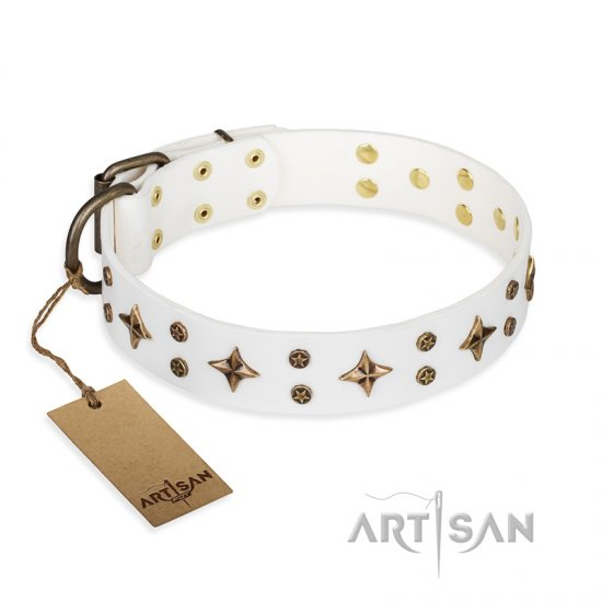 'Bright stars' FDT Artisan White Leather Mastiff Dog Collar with Old Bronze Look Decorations - 1 1/2 inch (40 mm) wide