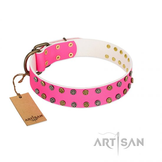 """Blushing Star"" FDT Artisan Pink Leather Mastiff Collar with Two Rows of Small Studs"