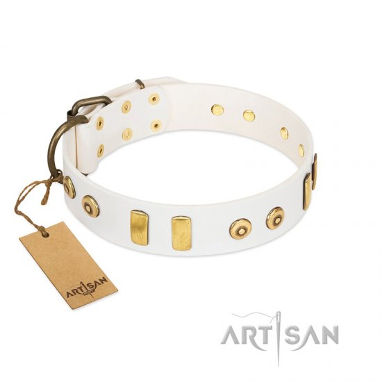"""Golden Union"" Elegant FDT Artisan White Leather Mastiff Collar with Old Bronze-like Dotted Studs and Tiles"
