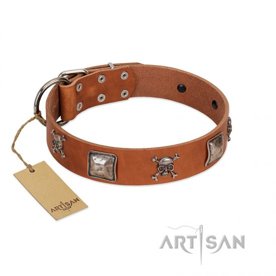 """Amorous Escapade"" Embellished FDT Artisan Tan Leather Mastiff Collar with Chrome Plated Crossbones and Plates"