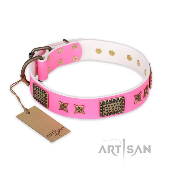 """Tender Pink"" FDT Artisan Leather Mastiff Collar with Old Bronze Look Stars and Plates"