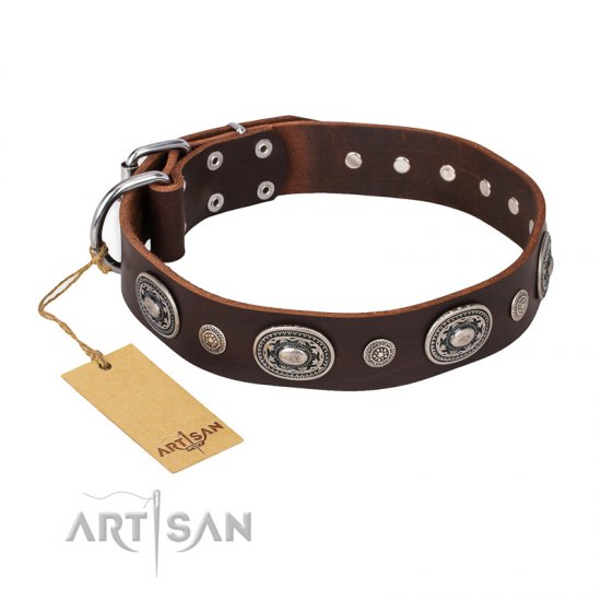 """Extra Pizzazz"" FDT Artisan Adorned Brown Leather Mastiff Collar"