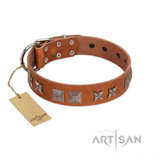 """Antique Figures"" FDT Artisan Tan Leather Mastiff Collar with Silver-like Engraved Plates"