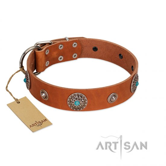 """Marine Antiques"" Handmade FDT Artisan Tan Leather Mastiff Collar with Blue Stones"