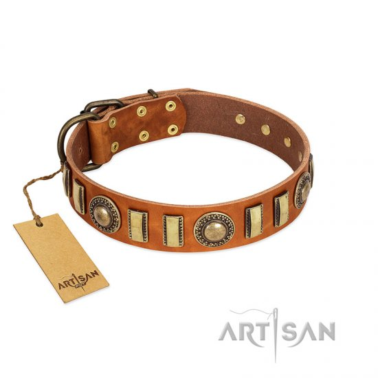 """Happy Hound"" FDT Artisan Tan Leather Mastiff Collar with Elegant Decorations"