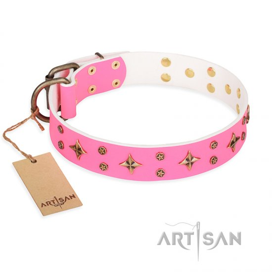 'Chi-Chi Pink Rose' FDT Artisan Leather Mastiff Collar with Decorations