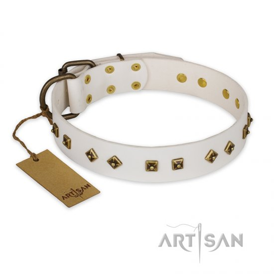 """Snow Cloud"" FDT Artisan White Leather Mastiff Collar with Square and Rhomb Studs"