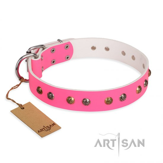 """Sheer love"" Pink Leather FDT Artisan Mastiff Collar with Old-look Hemisphere Studs"