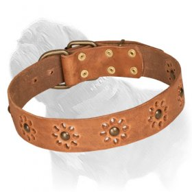 'Spring Mood' Mastiff Dog Collar with Flower Ornament