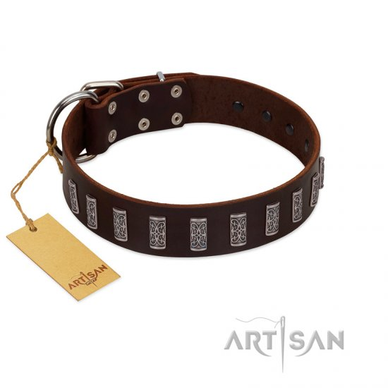 """Brown Lace"" Handmade FDT Artisan Brown Leather Mastiff Collar for Everyday Walks"