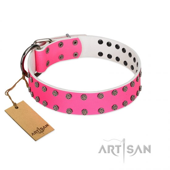 """Pink Fashion"" Designer FDT Artisan Pink Leather Mastiff Collar with Silver-Like Studs"