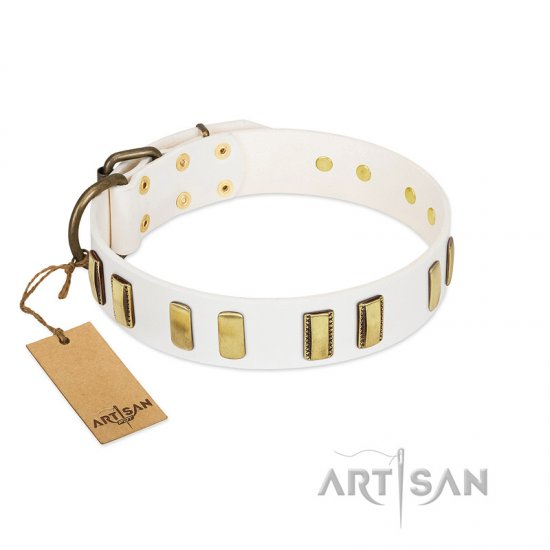 """Glorious Light"" FDT Artisan White Leather Mastiff Collar with Old Bronze-like Plates"