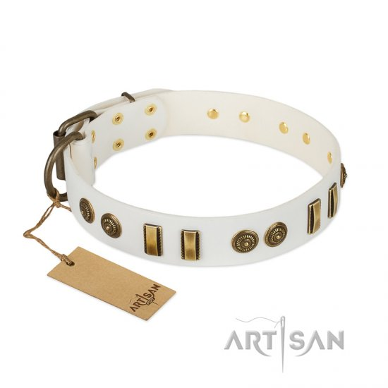 """Midsummer Snow"" FDT Artisan White Leather Mastiff Collar with Old Bronze-like Plates and Circles"