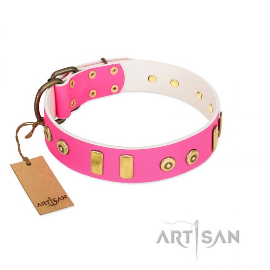 """Prim'N'Proper"" Handmade FDT Artisan Pink Leather Mastiff Collar with Old Bronze-like Dotted Studs and Tiles"