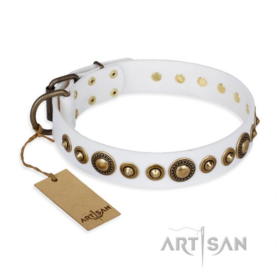 """Swirl of Fashion"" FDT Artisan Delicate White Leather Mastiff Collar with Stunning Bronze-Plated Round Studs"