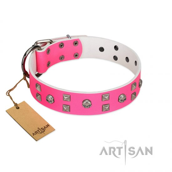 """Crystal Skull"" Premium Quality FDT Artisan Pink Designer Mastiff Collar with Skulls and Studs"