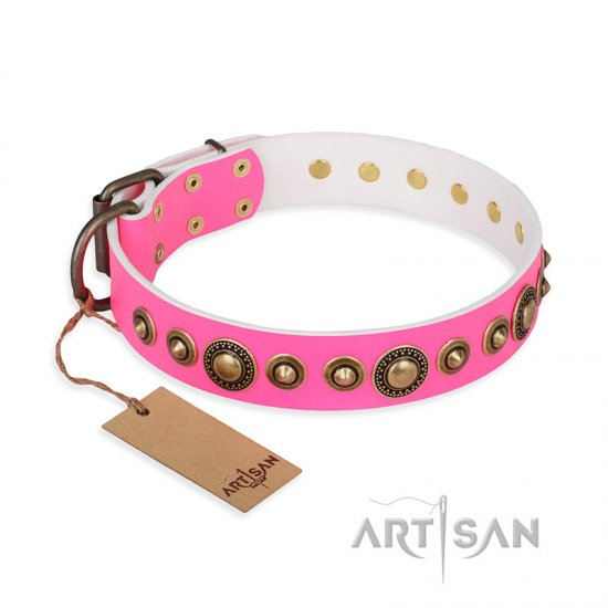"""Pink Gloss"" FDT Artisan Leather Mastiff Collar with Old-Bronze Plated Circles and Studs"