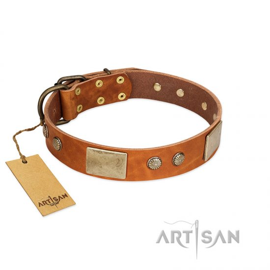 """Ancient Treasures"" FDT Artisan Tan Leather Mastiff Collar with Antiqued Plates and Studs"
