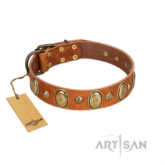 """Venus Breath"" FDT Artisan Tan Leather Mastiff Collar with Vintage Looking Oval and Round Studs"