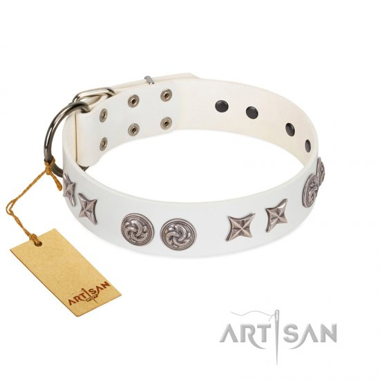 """Galaxy Hunter"" FDT Artisan White Leather Mastiff Collar with Engraved Brooches and Stars"
