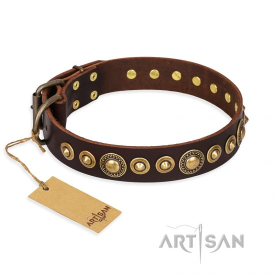 """Ancient Warrior"" FDT Artisan Fancy Leather Mastiff Collar with Old-Bronze Plated Decorations"
