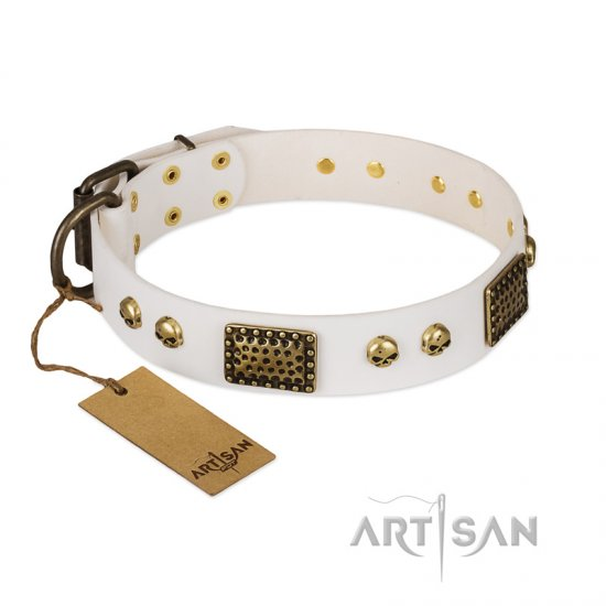 """Lost Treasures"" FDT Artisan White Leather Mastiff Collar with Old Bronze Look Plates and Skulls"