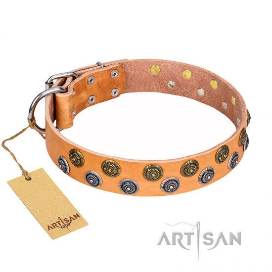 """Precious Sparkle"" FDT Artisan Handcrafted Tan Leather Mastiff Collar"