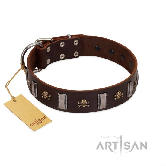 """War Chief"" FDT Artisan Genuine Brown Leather Mastiff Collar with Skulls and Plates"