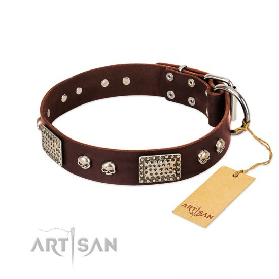 """Pirate Skull"" FDT Artisan Brown Leather Mastiff Collar with Old Silver Look Plates and Skulls"