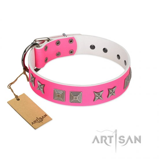 """Pink Wink"" Handcrafted FDT Artisan Pink Leather Mastiff Collar with Plates and Stars"