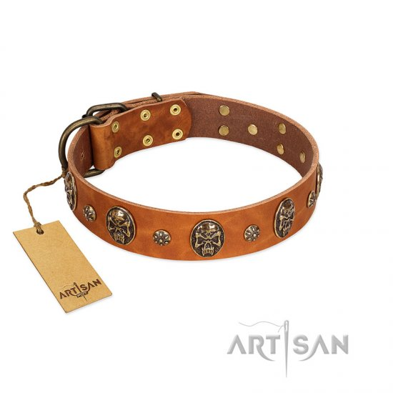 """Rockstar"" FDT Artisan Tan Leather Mastiff Collar with Engraved Studs and Medallions"