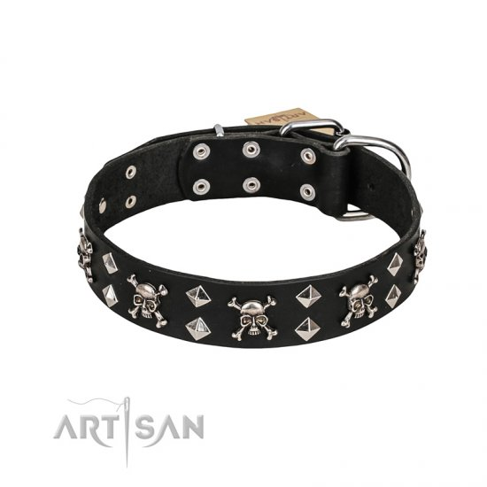 FDT Artisan Fancy Rock 'n' Roll Style Leather Mastiff Collar with Skulls, Bones and Studs 1 1/2 inch (40 mm) wide