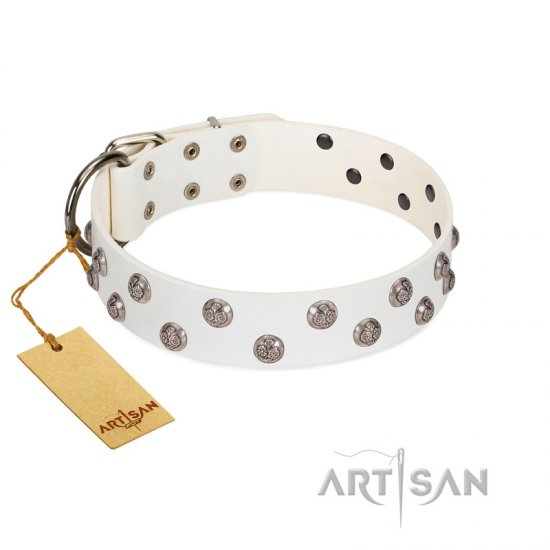 """Wild Flora"" FDT Artisan White Leather Mastiff Collar with Silver-like Engraved Studs"