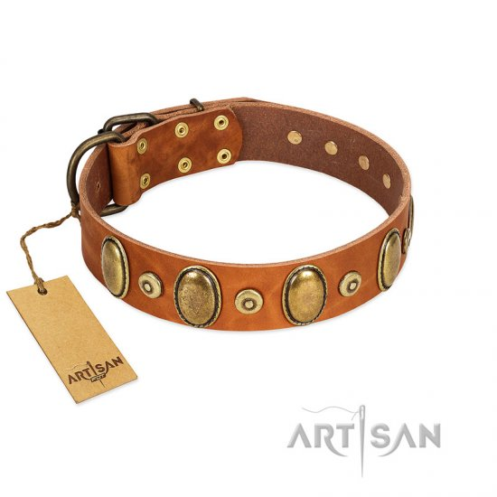 """Crystal Sand"" FDT Artisan Tan Leather Mastiff Collar with Vintage Looking Oval and Round Studs"