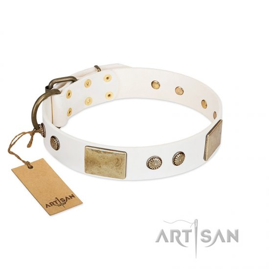 """Pure Elegance "" FDT Artisan White Decorated Leather Mastiff Collar - 1 1/2 inch (40 mm) wide"