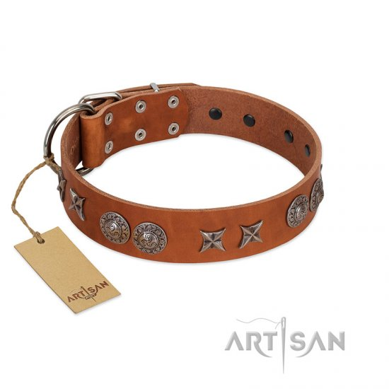 """Splendid Armor"" Premium Quality FDT Artisan Tan Designer Mastiff Collar with Shields and Stars"